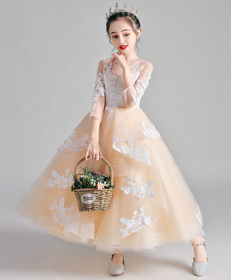 Champagne round neck tulle lace flower girl dress