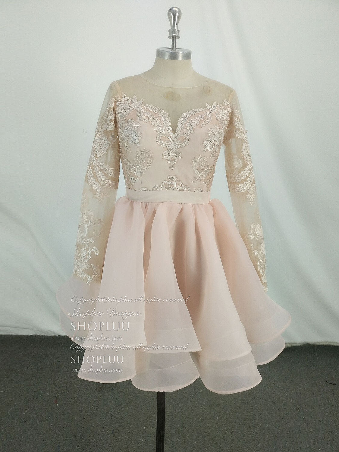 Pink round neck tulle lace short prom dress, pink homecoming dress