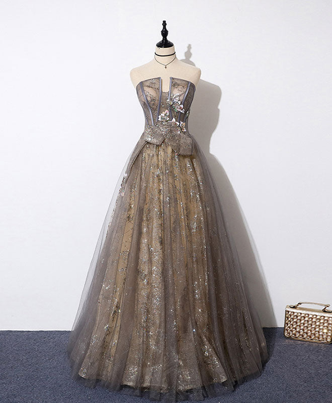 Unique tulle lace long prom dress tulle lace formal dress