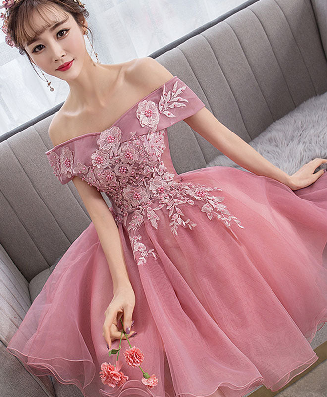 Pink tulle lace short prom dress pink lace homecoming dress