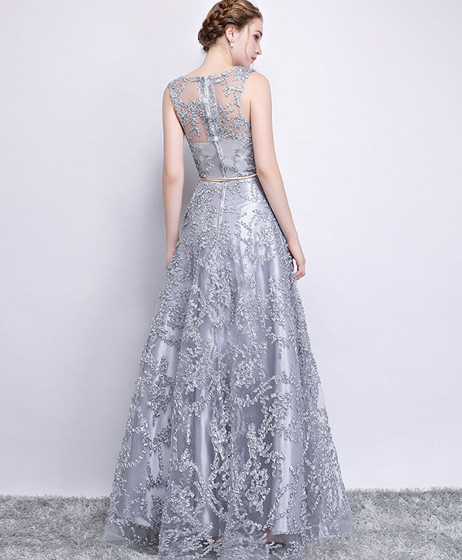 Gray tulle lace long prom dress , gray evening dress