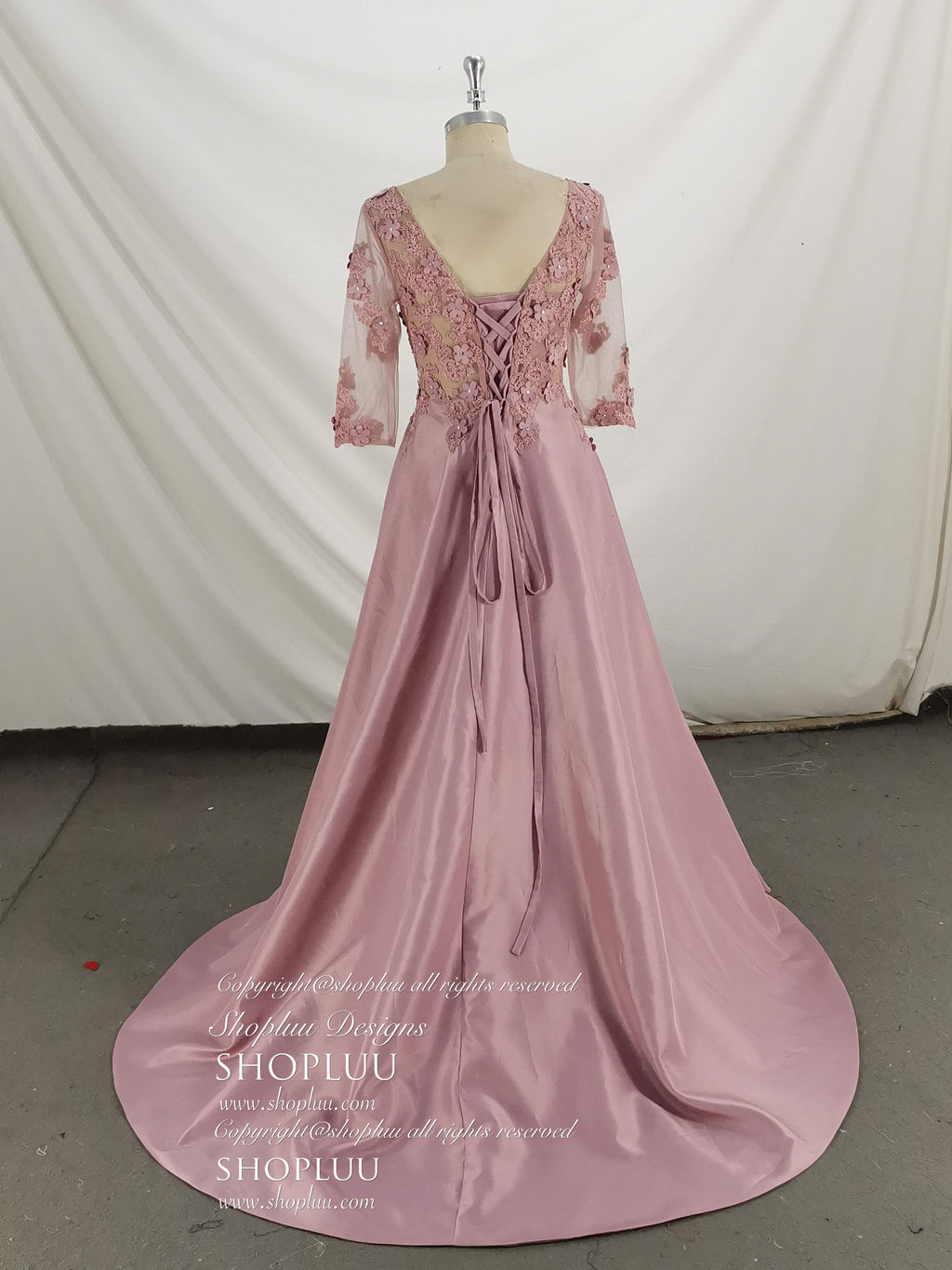 Pink round neck satin lace long prom dress pink lace evening dress