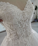 White sweetheart neck tulle lace long wedding dress lace bridal dress