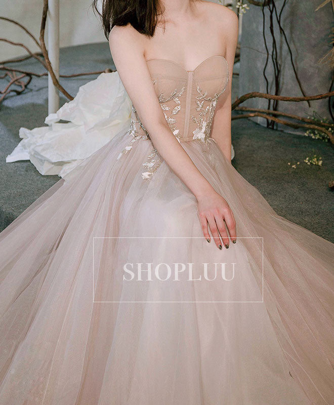 Champagne sweetheart tulle long prom dress, champagne evening dress