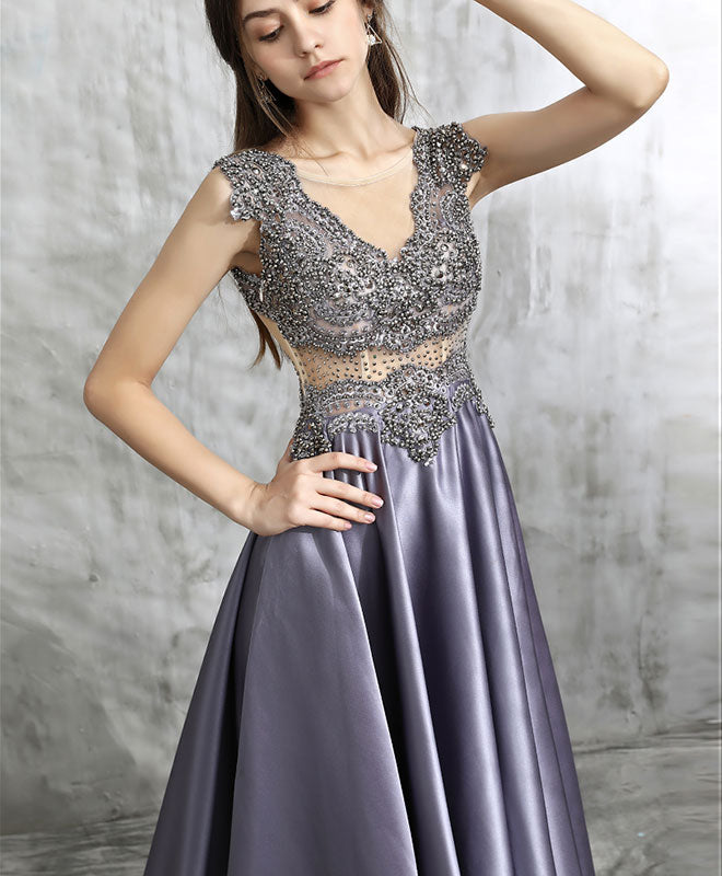 Unique v neck beads long prom dress, evening dress