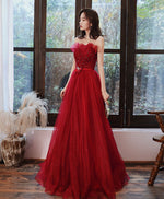 Burgundy tulle long prom dress tulle formal dress