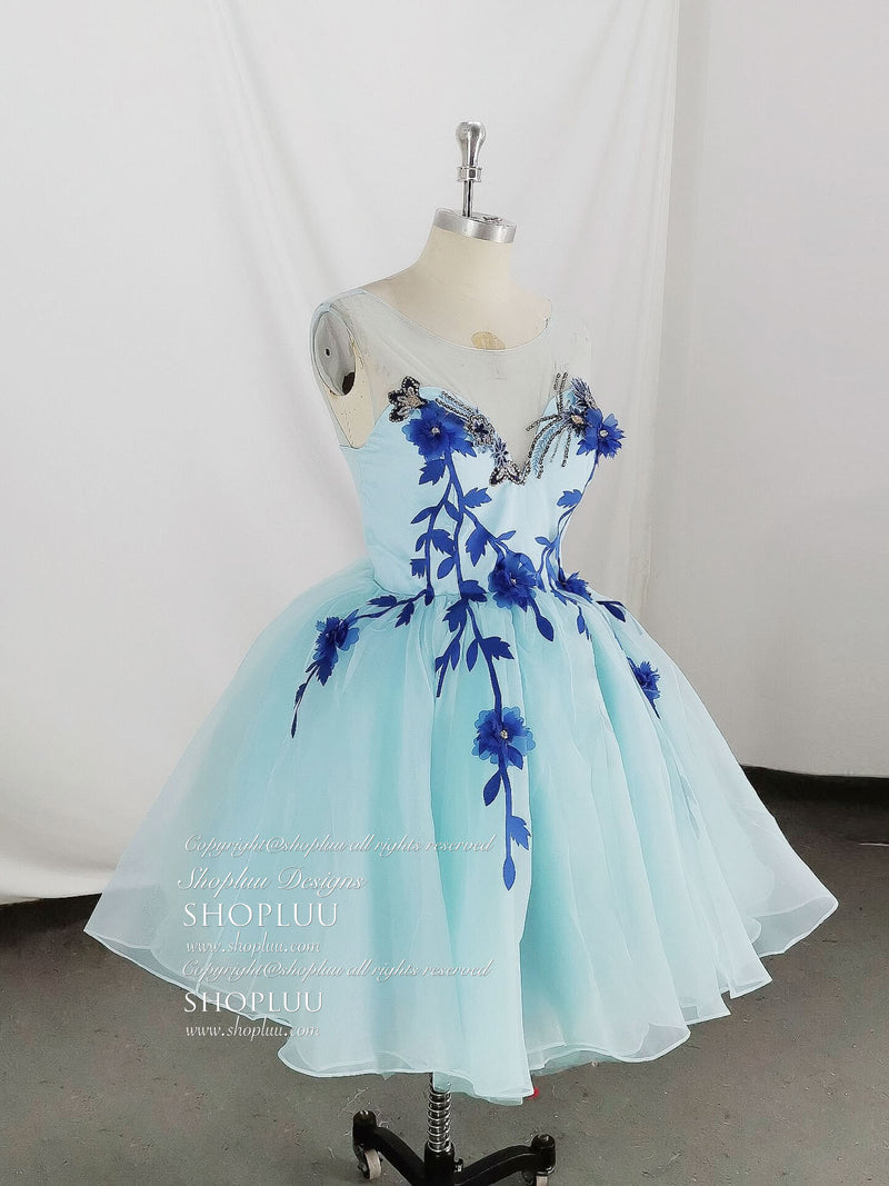 Cute round neck tulle lace short prom dress, blue homecoming dress