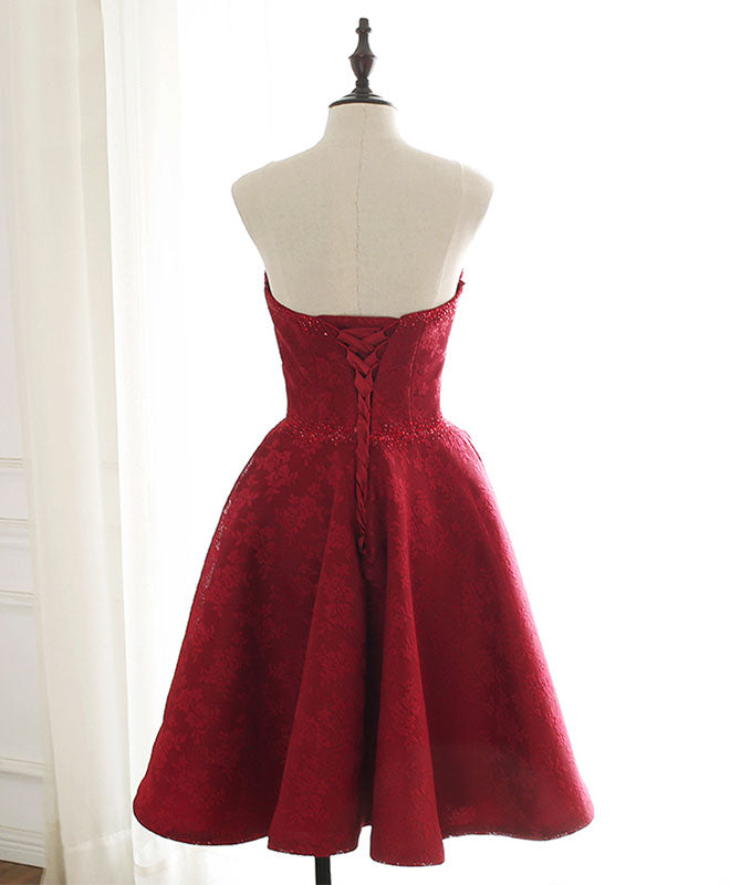 burgundy sweetheart lace short prom dress burgundy homecoming dress