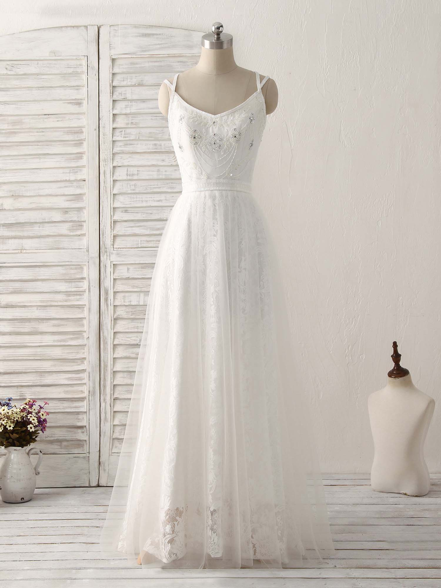 White v neck tulle lace long prom dress white evening dress