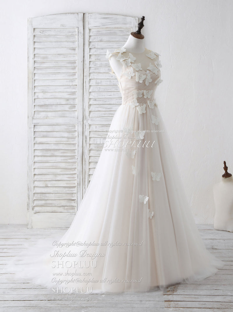 Unique white round neck tulle 3D lace applique long prom dresses