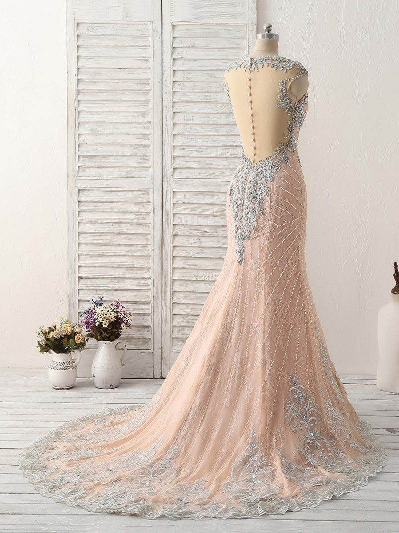 Pink mermaid sequin beads long lace prom dresses