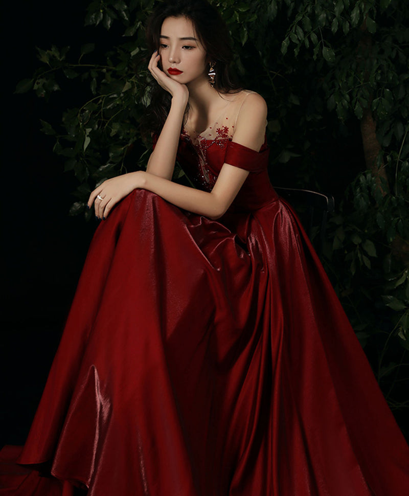 Burgundy round neck beads long prom dress burgundy evening dress