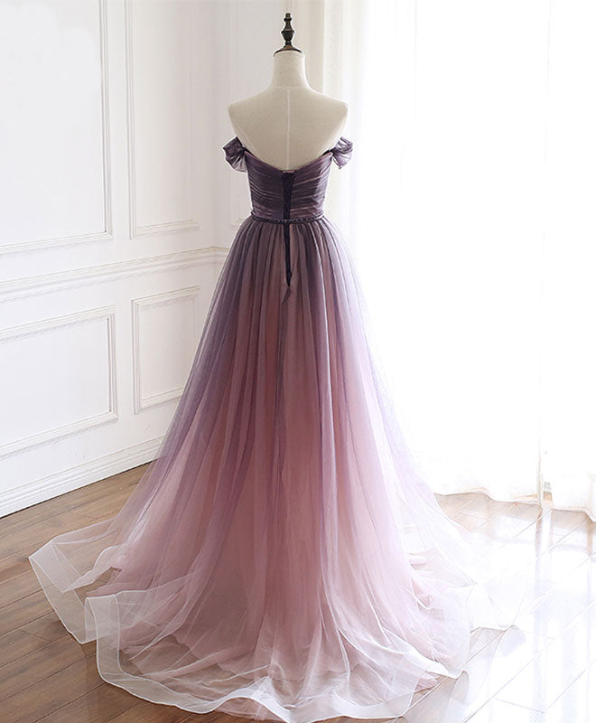 Simple tulle off shoulder long prom dress, tulle formal dress