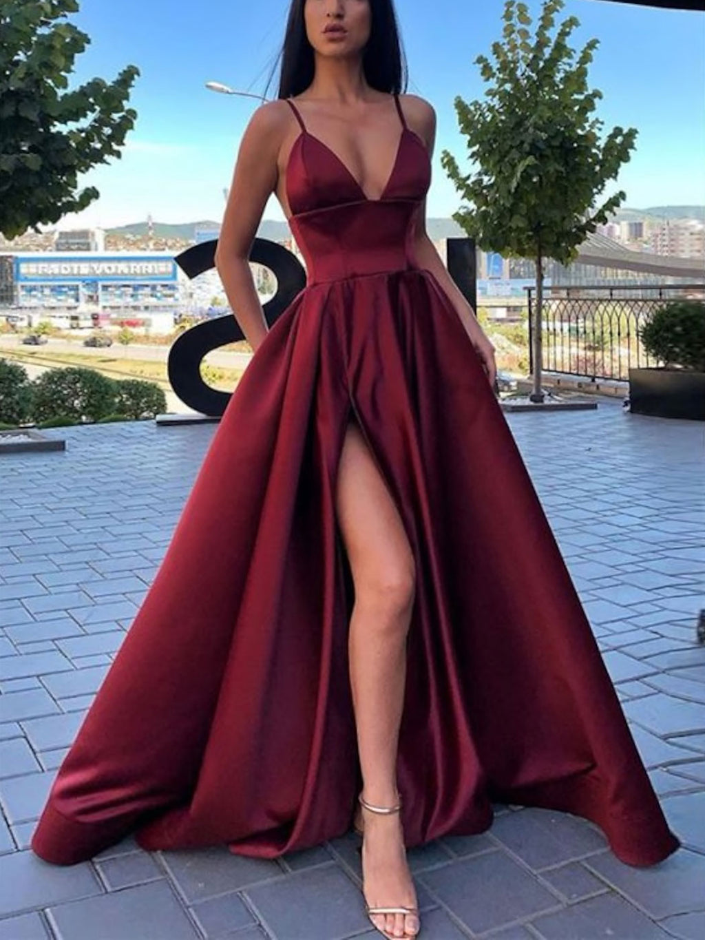 Simple A-line v neck satin long prom dress satin evening dress
