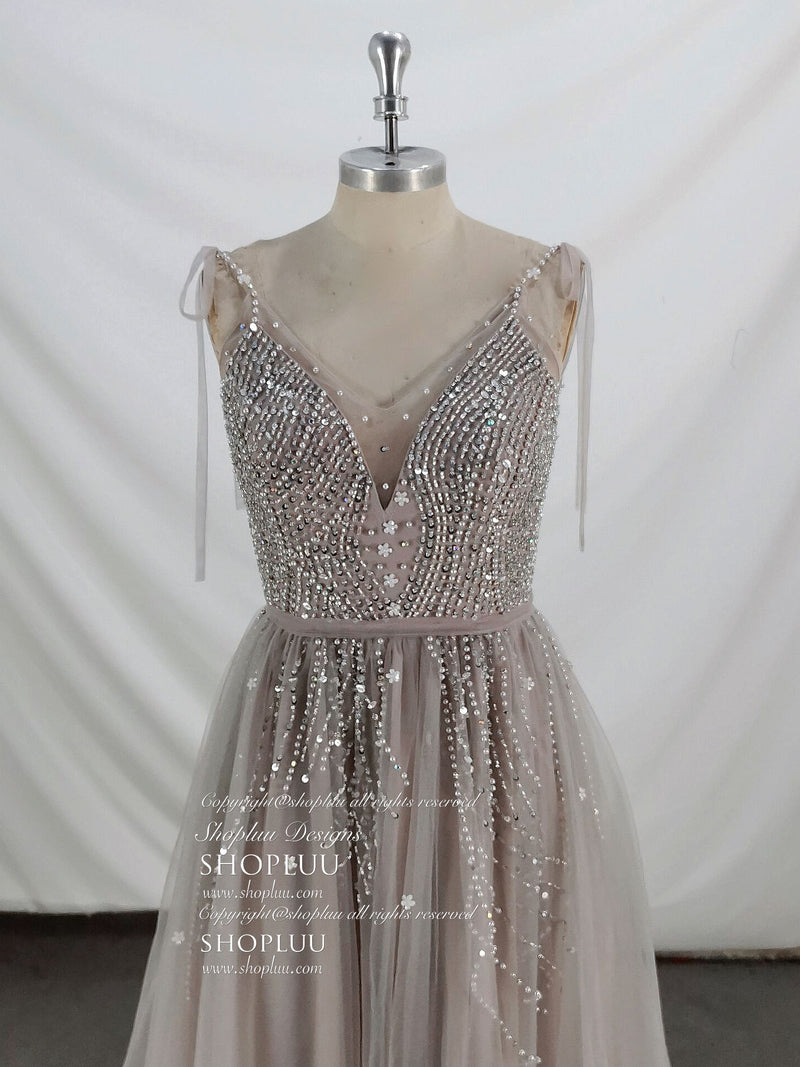 Gray tulle beads sequin long prom dress gray tulle formal dress