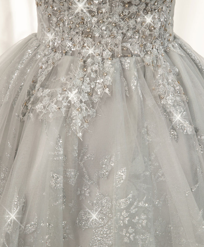Gray sweetheart lace tulle short prom dress gray cocktail dress