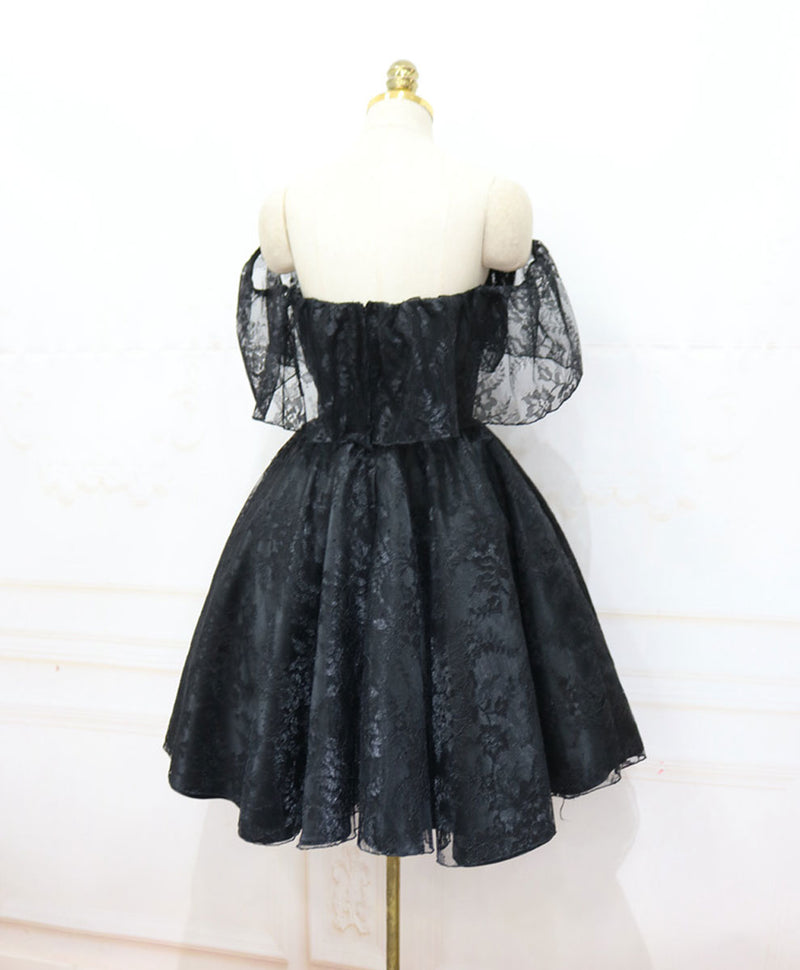 Black sweetheart tulle short lace prom dress lace homecoming dress