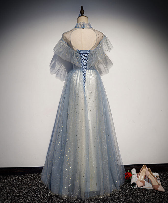 Light blue tulle lace long prom dress, tulle evening dress