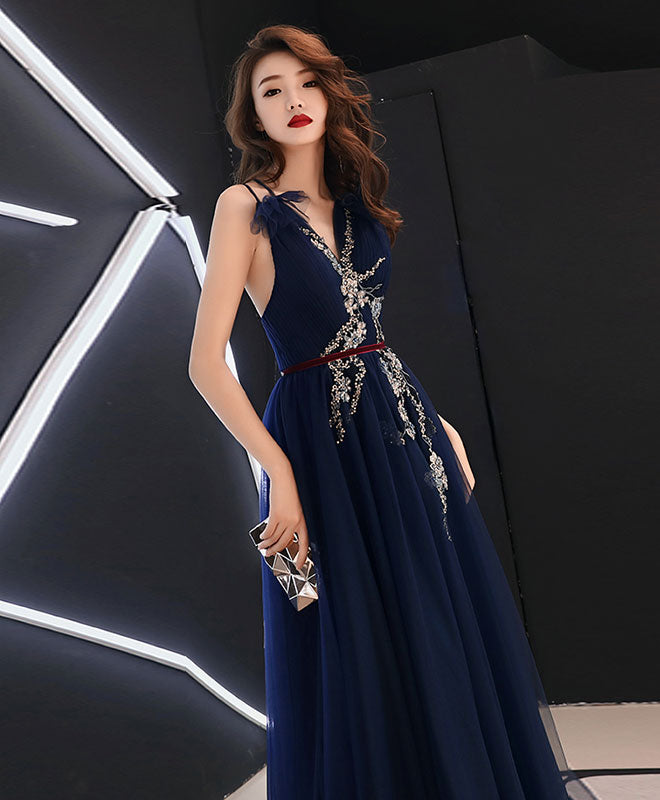 Dark blue v neck tulle lace long prom dress, blue tulle evening dress