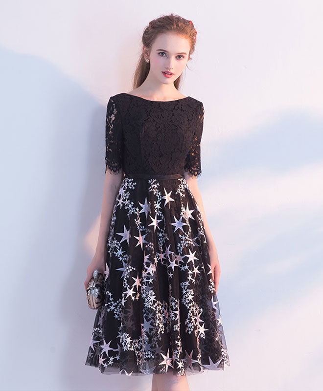 Black lace tulle short prom dress tulle lace homecoming dress