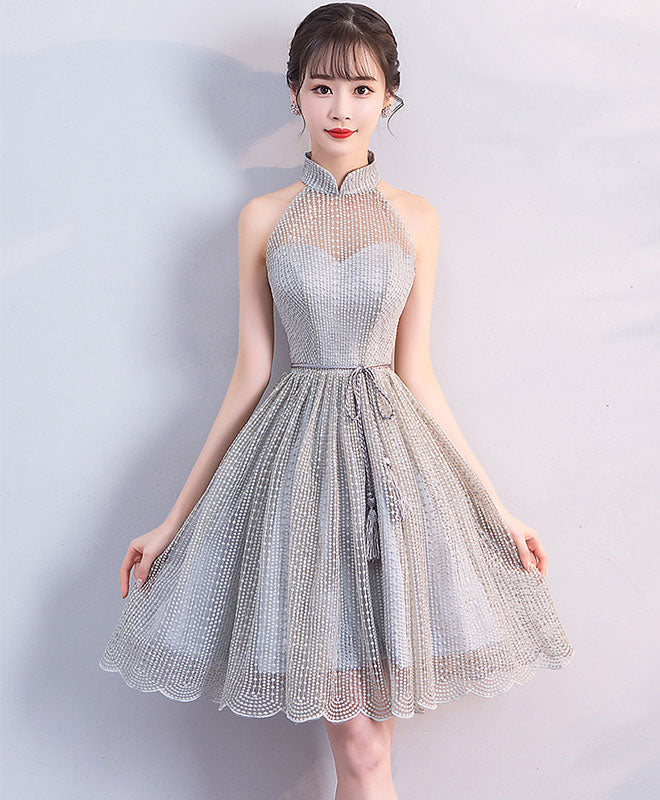 Gray high neck short prom dress, gray homecoming dress