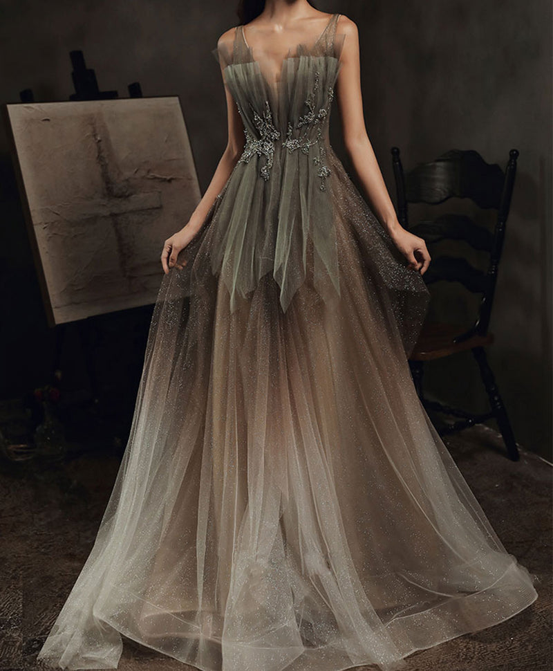 Elegant v neck tulle sequin long prom dress tulle formal dress