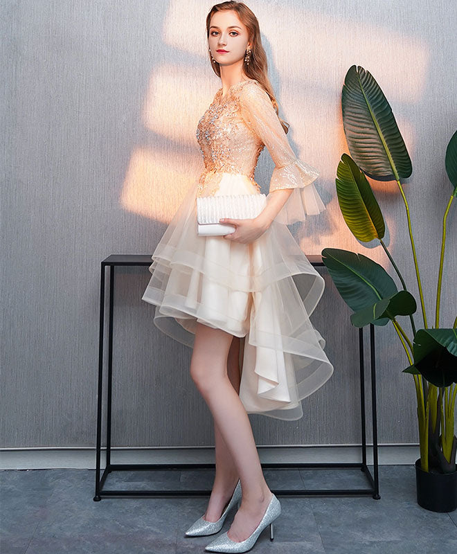 Champagne round neck tulle lace short prom dress, evening dress