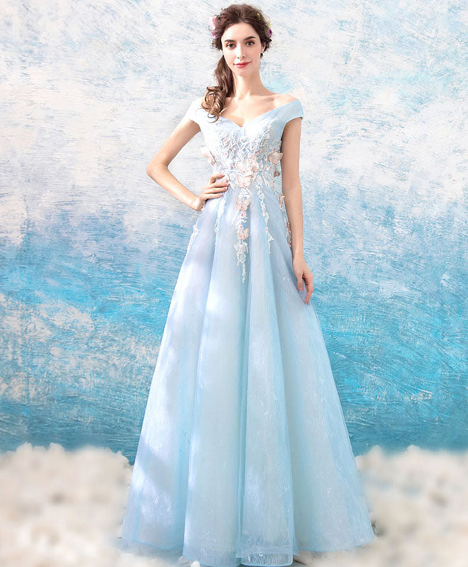Blue v neck off shoulder tulle long prom dress, blue evening dress