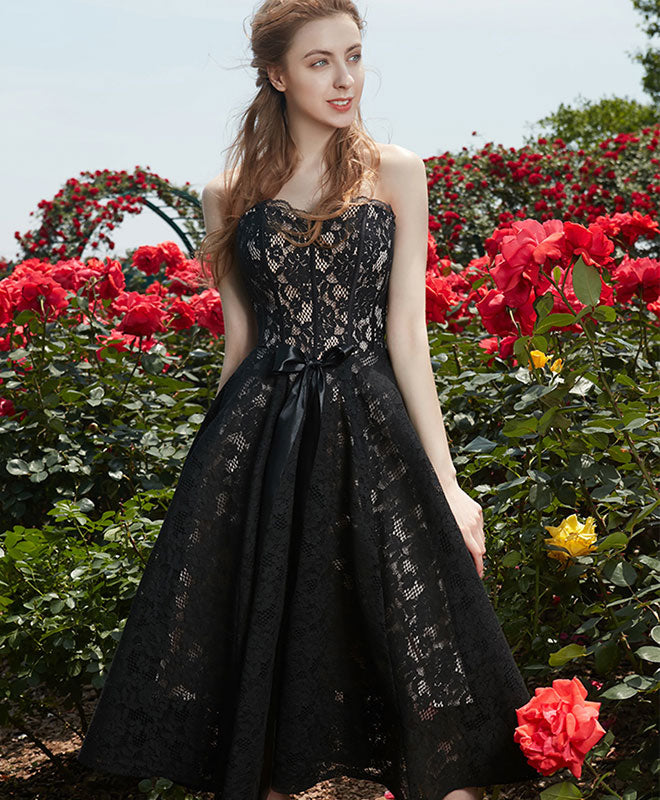 Simple sweetheart lace black prom dress, black homecoming dress