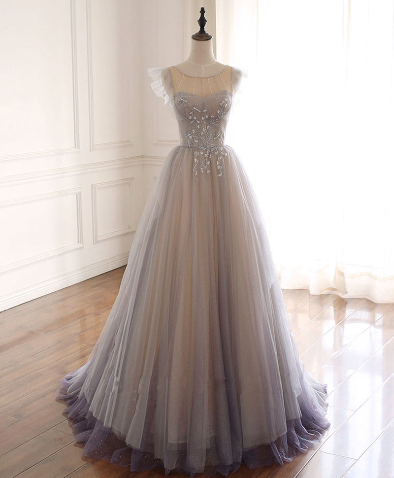 Gray purple round neck tulle long prom dress tulle formal dress