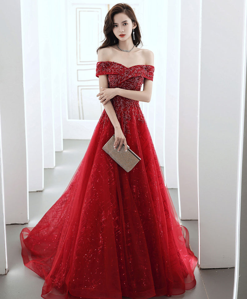 Burgundy off shoulder tulle lace long prom dress burgundy evening dress
