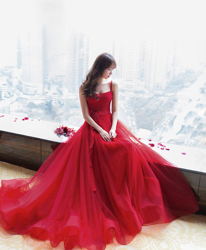 Red tulle long prom dress, red tulle evening dress
