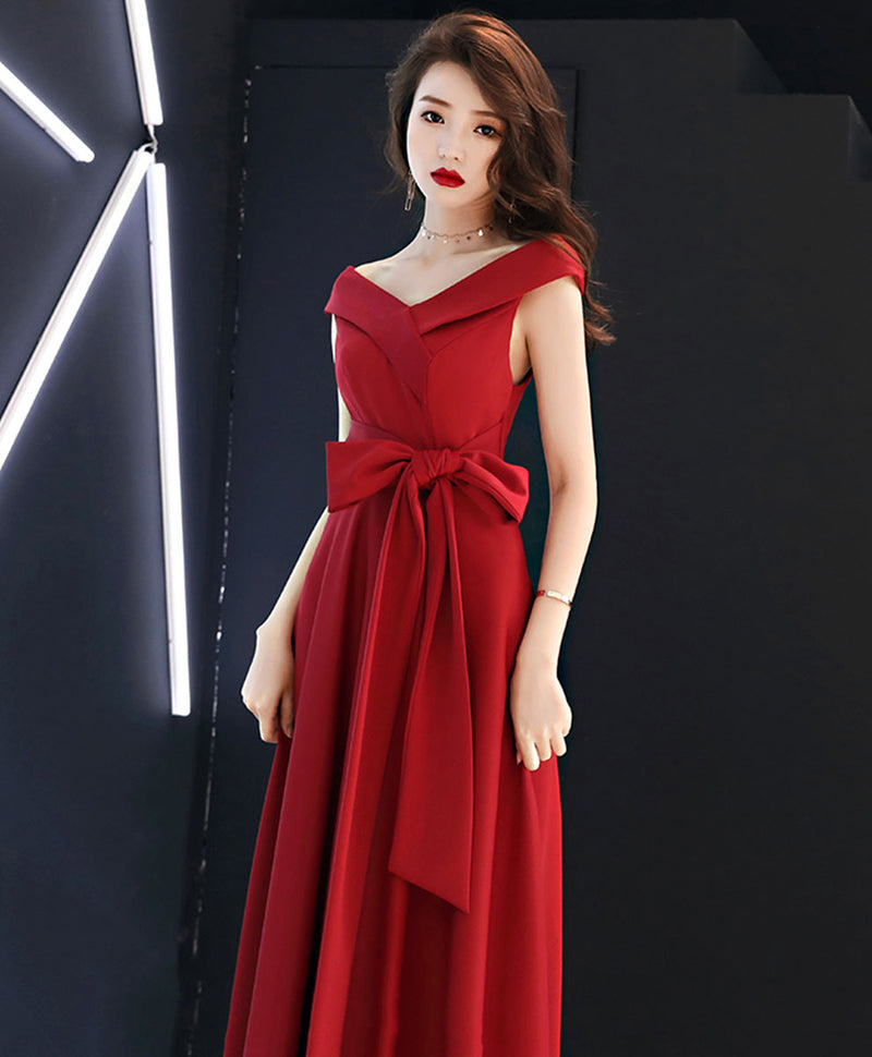 Red v neck long prom dress red bridesmaid dress