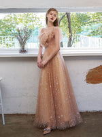 Simple tulle off shoulder lace long prom dress lace formal dress