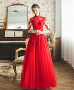 Red high neck tulle lace long prom dress red lace formal dress