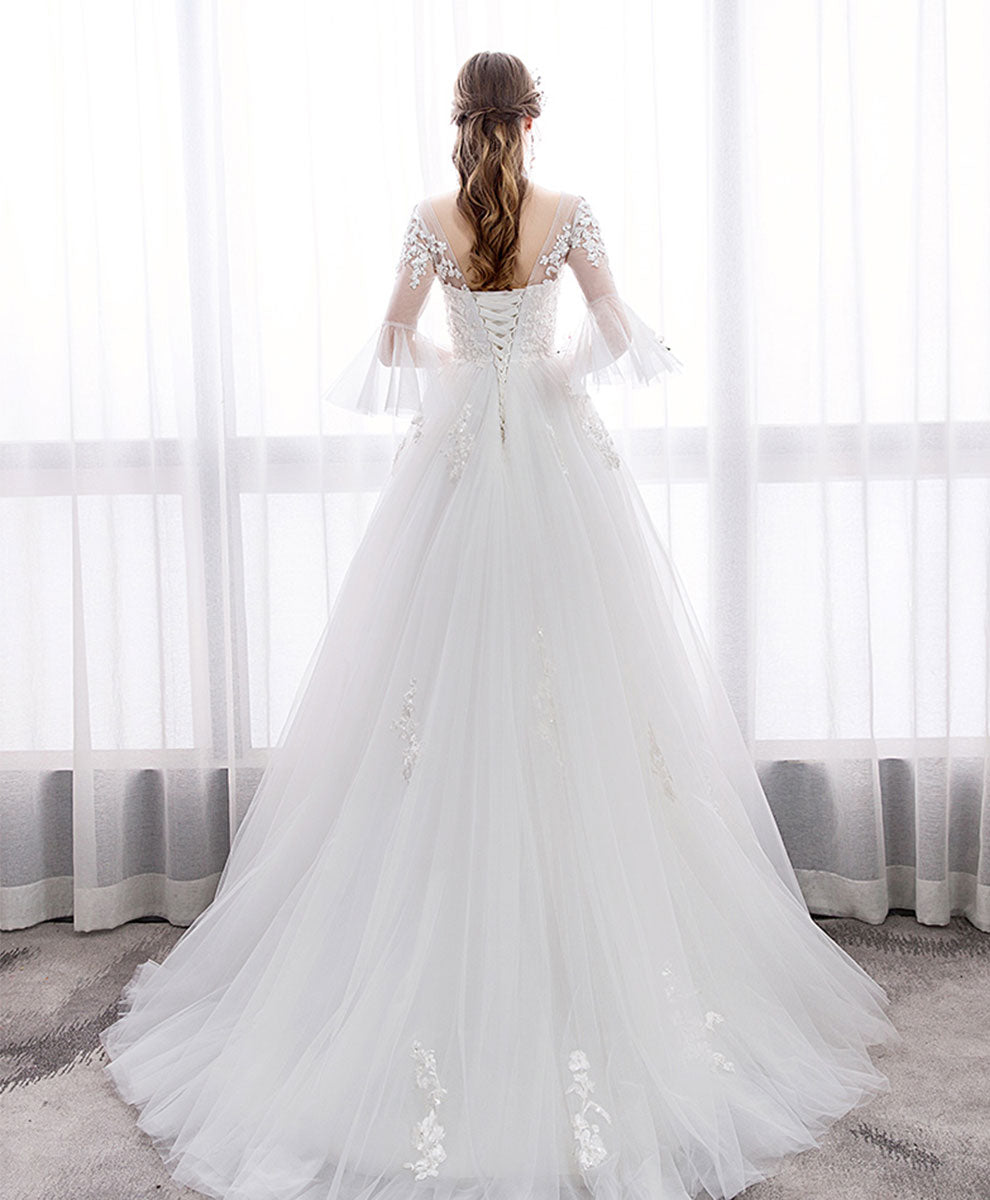 White v neck tulle lace long wedding dress, lace bridal dress