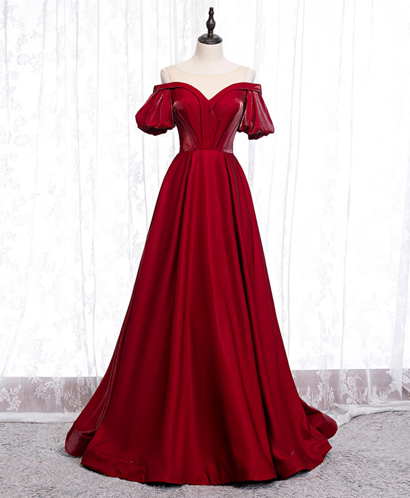 Simple sweetheart burgundy satin long prom dress burgundy evening dress