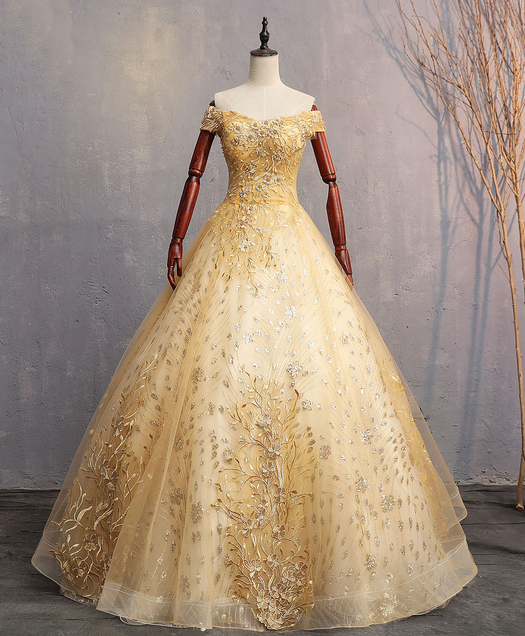 Gold tulle off shoulder lace long prom dress tulle formal dress