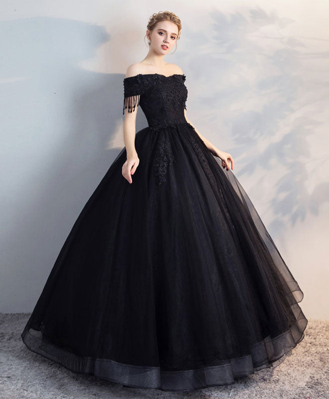 Black off shoulder lace tulle long prom dress, black evening dress