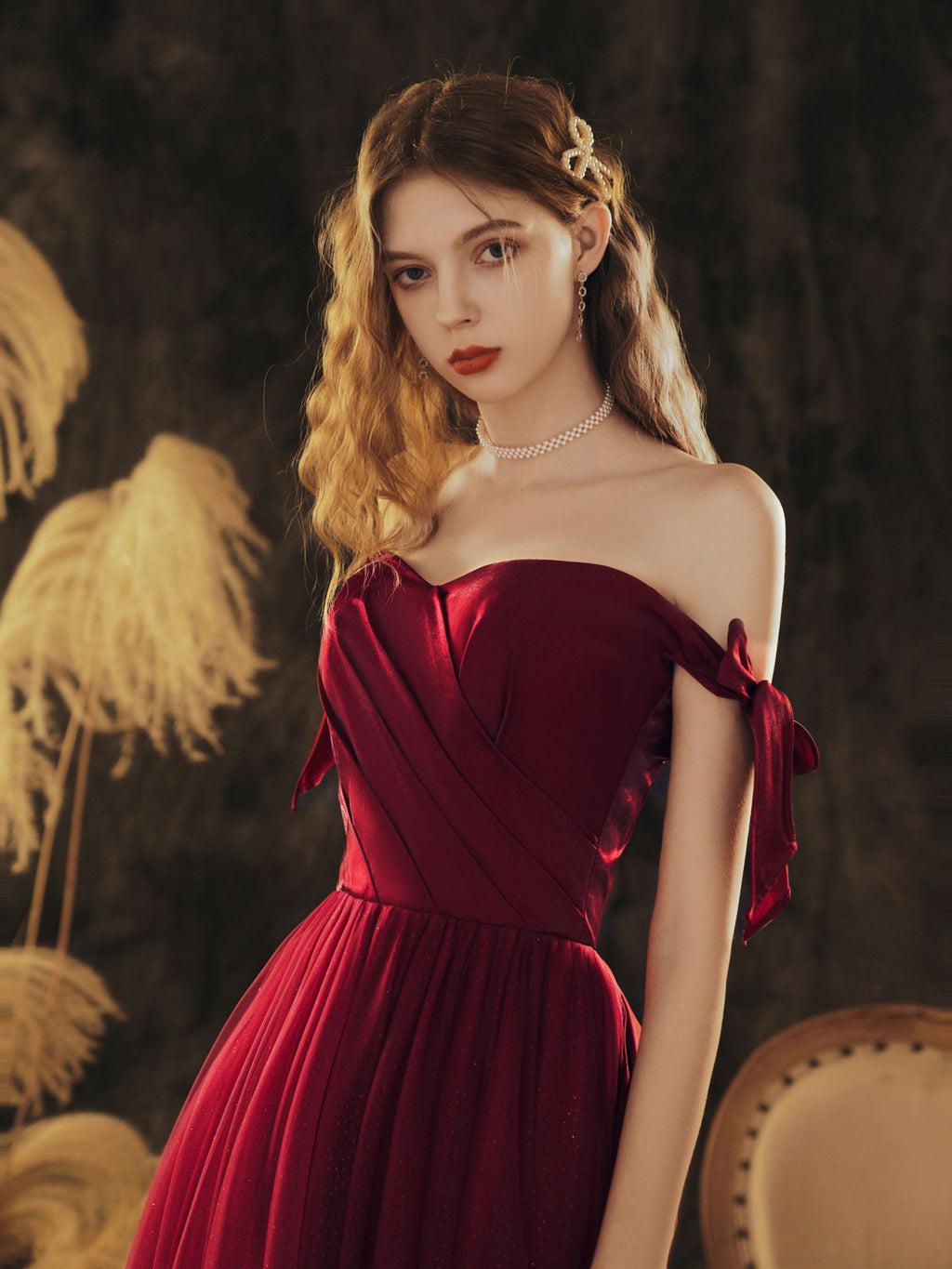 Simple sweetheart neck tulle long prom dress burgundy evening dress