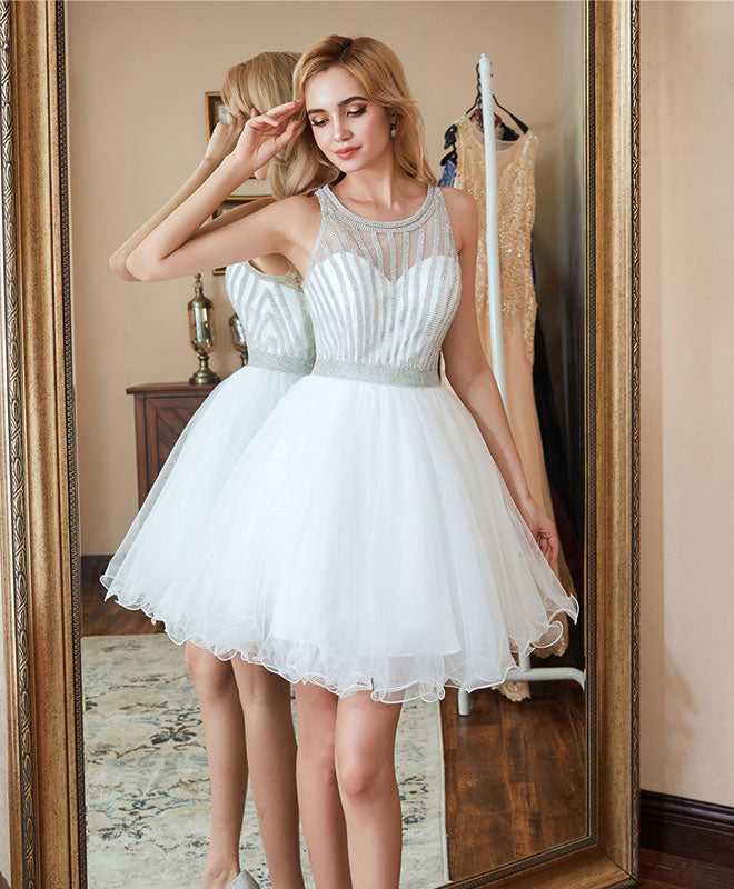 White tulle short prom dress, white homecoming dress