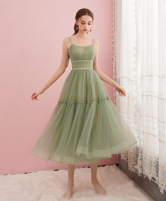 Cute green tulle short prom dress simple tulle homecoming dress
