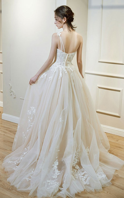 Light champagne tulle lace long prom dress, wedding dress