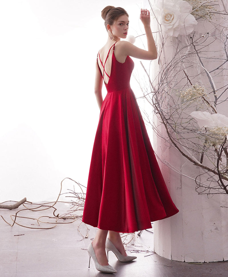 Simple red satin tea length prom dress red formal dress