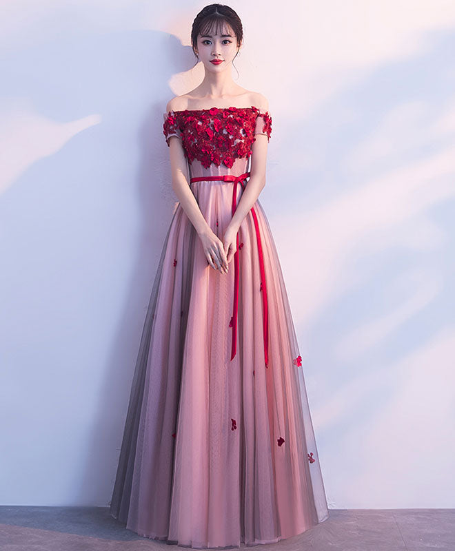 Burgundy tulle lace applique long prom dress, bridesmaid dress