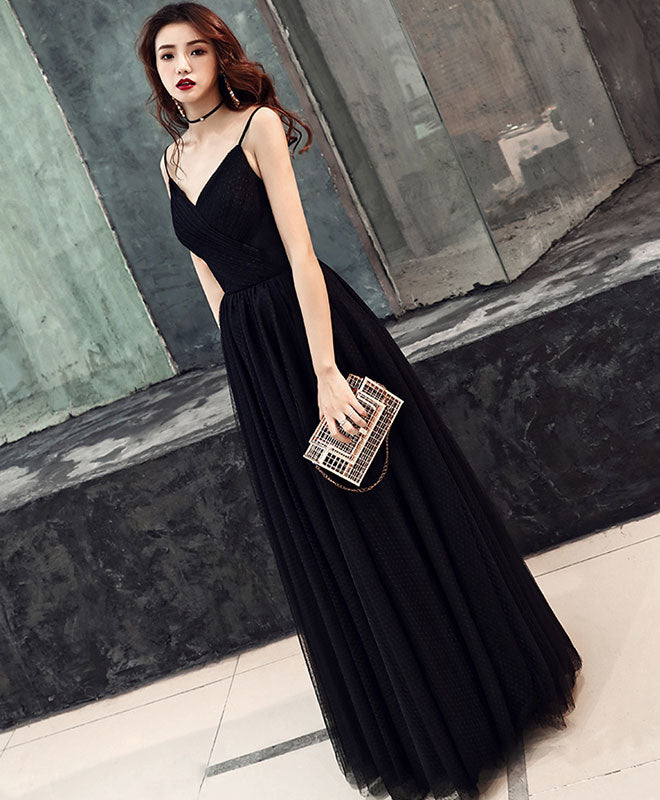 Simple sweetheart black tulle long prom dress, black evening dress