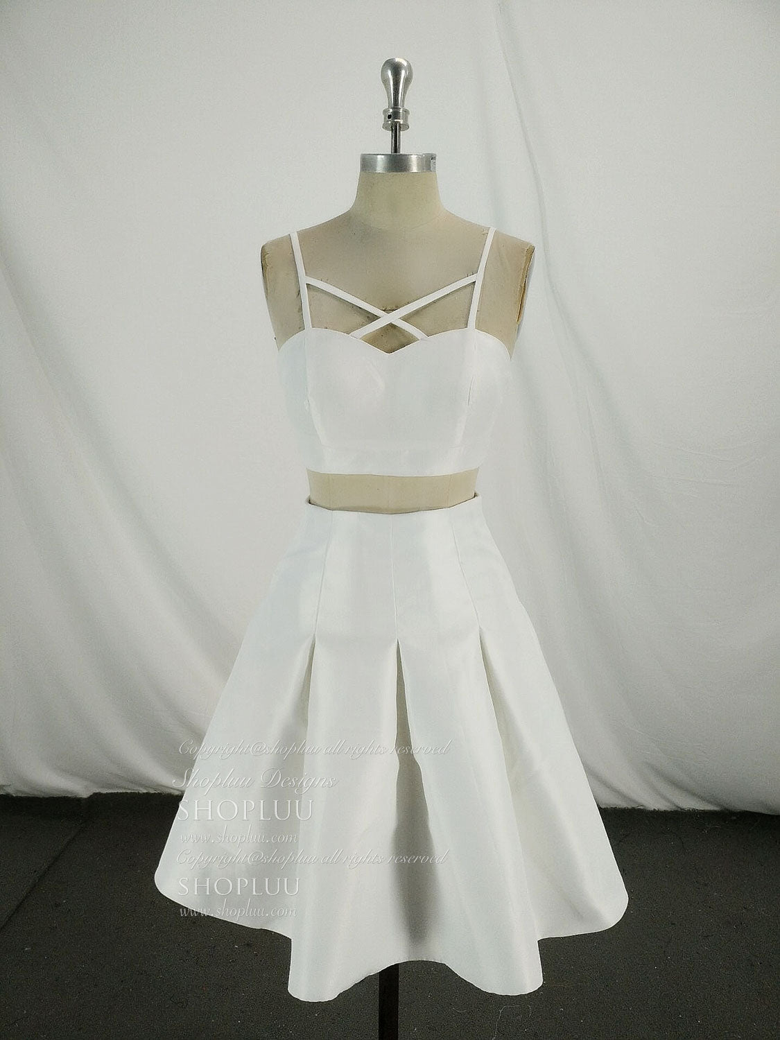 fe086acdd330 Simple white two pieces short prom dress, white homecoming dress