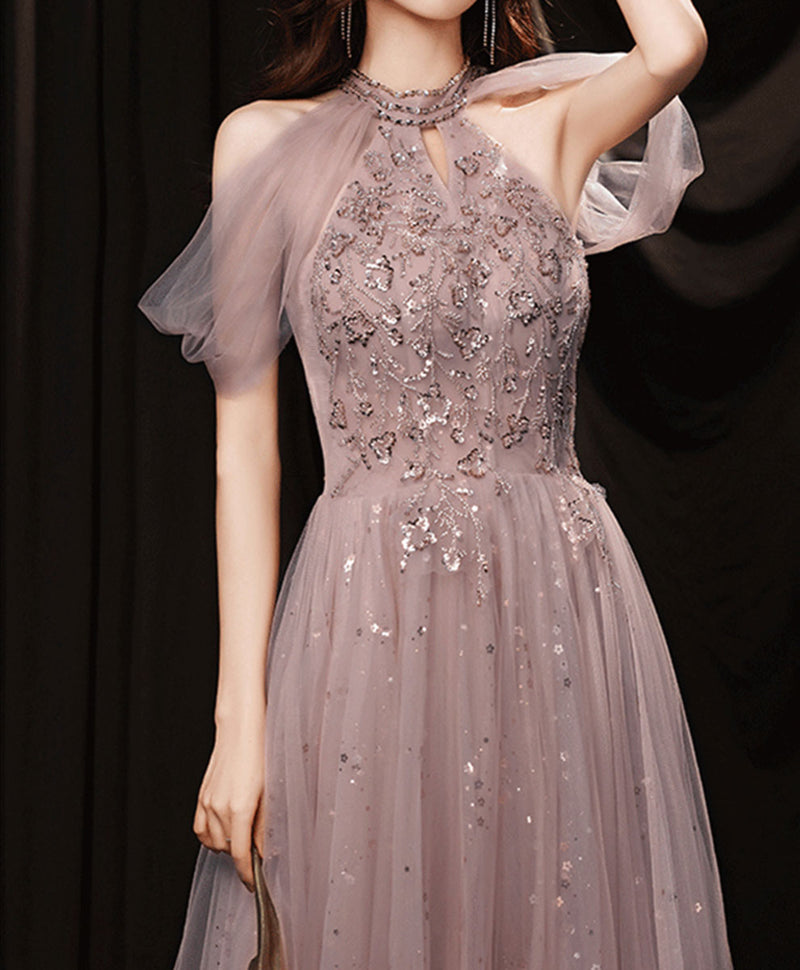 Pink tulle lace sequin long prom dress pink evening dress