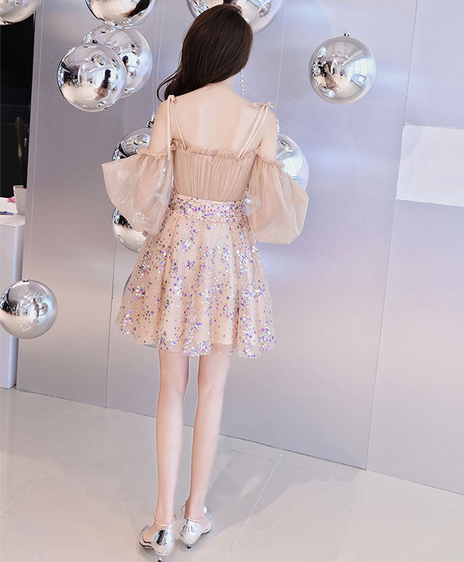 Champagne tulle short prom dress, champagne tulle homecoming dress