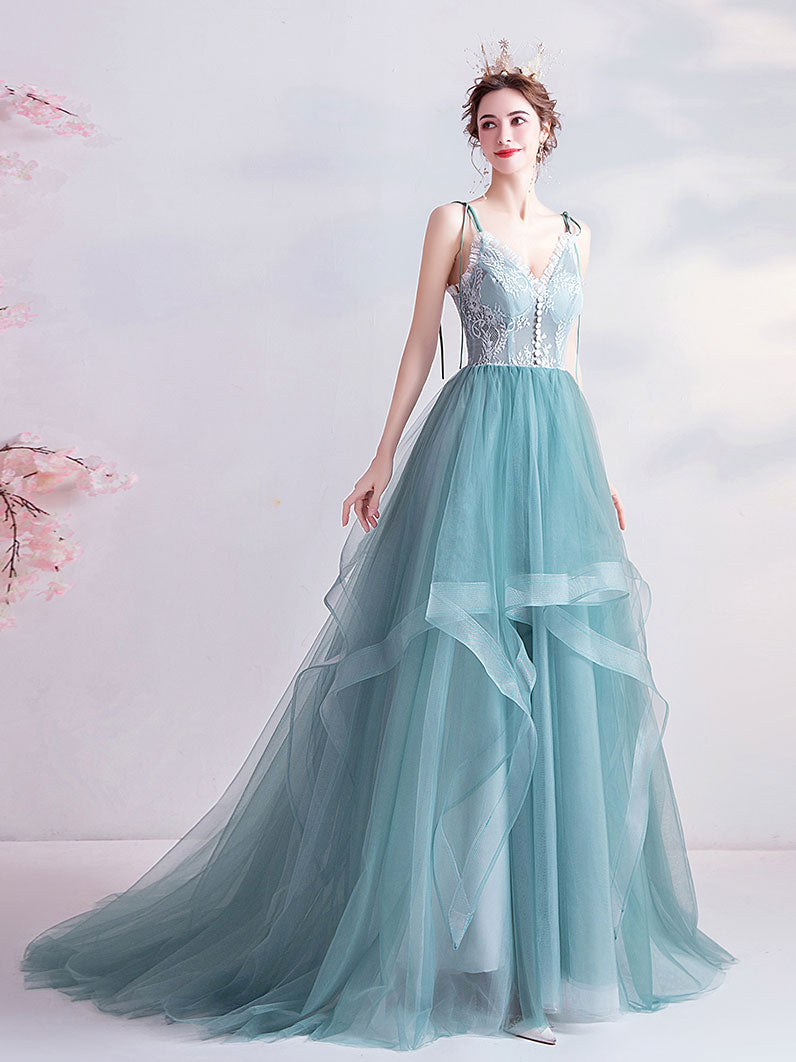 Green v neck tulle lace long prom dress green evening dress